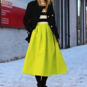 Tibi Neon green silk skirt